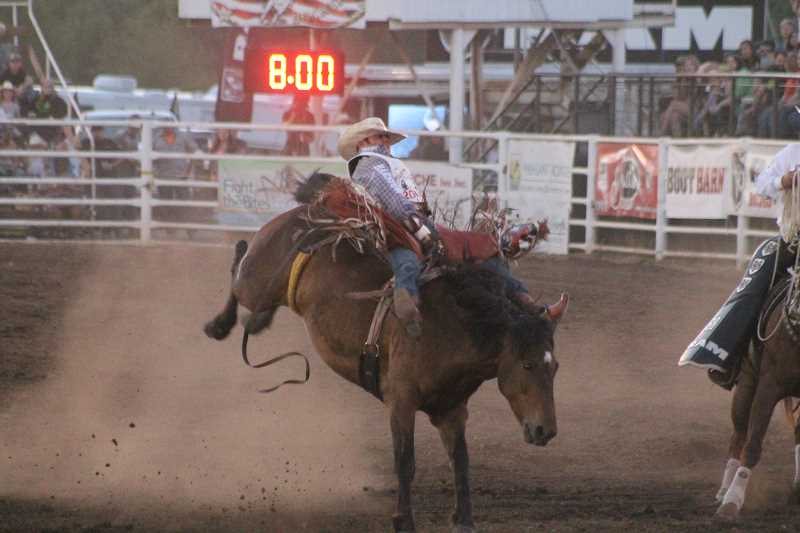 PIONEER PHOTOS: CONNER WILLIAMS - Mason Clements took first in the bareback riding with a score of 86 points.