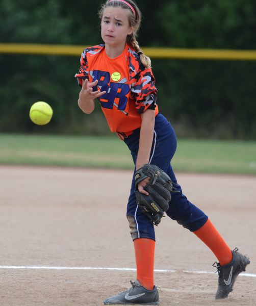 OUTLOOK PHOTO: DAVID BALL - Eastsides Peyton Trickel fires a pitch to the plate. She had three strikeouts.