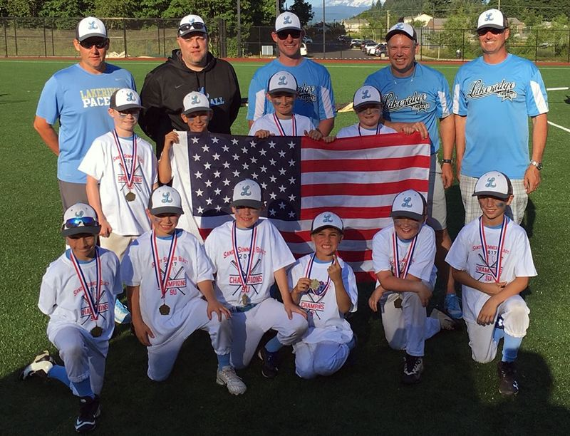 SUBMITTED PHOTO - The Pacer 9U Blue all-star team includes (back row, left to right) coaches Randy Burdette, Jim Beeman, Tim Tragessar, Brian Gerritz and Tony Sturgeon, (middle row) Korbin Taft, Jaden Tragessar, Wyatt Sturgeon and Brock Bayless, and (front row) Frankie Bianchina, Crew Corry, Cooper Beeman, Cole Sturgeon, Ben Burdette and Caden Gerritz. Not pictured are Henry Caskey, Joe Weiler and Drew Weiler.