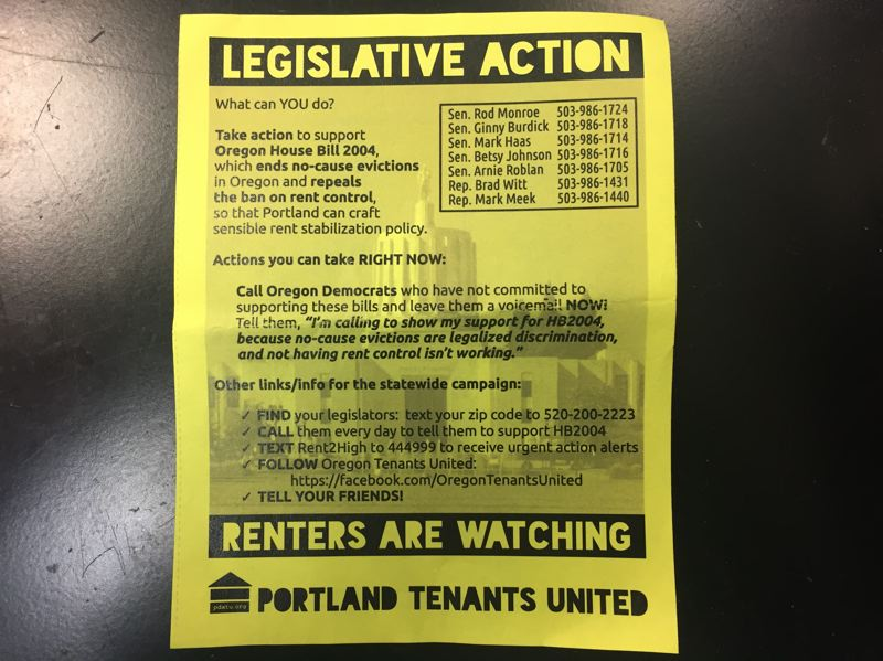 PARIS ACHEN/CAPITAL BUREAU - (File photo) A Portland Tenants United flier distributed earlier in the 2017 legislative session