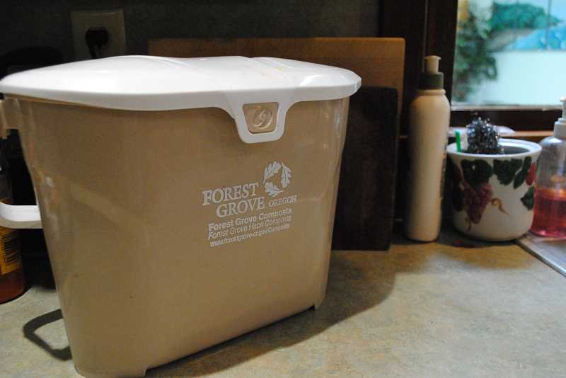 NEWS-TIMES PHOTO: EMILY GOODYKOONTZ - Forest Grove resident Karen Raichart leaves her food waste container on the counter next to her sink for convenient disposal of her kitchen's food scraps.