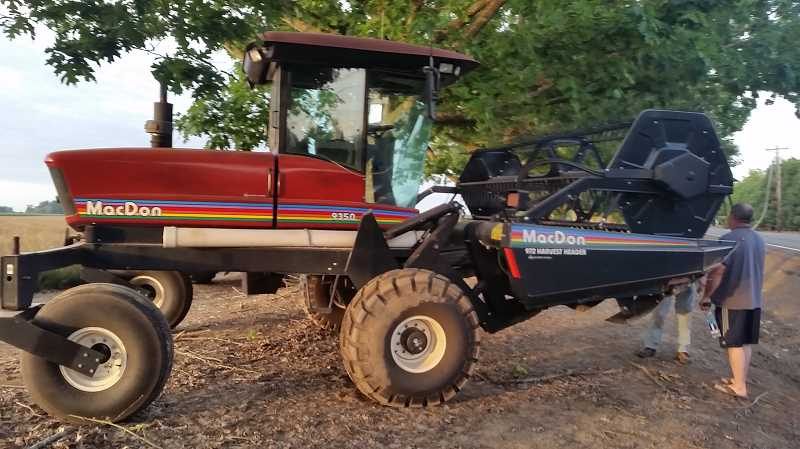 COURTESY PHOTO: HUBBARD POLICE DEPARTMENT - This tractor was reported stolen from Front Street on June 30, and was reportedly discovered when an alleged thief crashed it into a drainage ditch on Whiskey Hill Road.