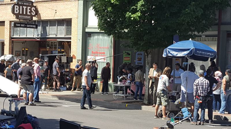 NEWS-TIMES PHOTO: EMILY GOODYKOONTZ - Often filmed in the Portland/Metro area, an episode of 'The Librarians' began filming in downtown Forest Grove on Main Street on Thursday, July 6.