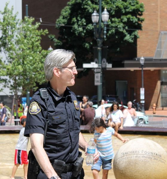TRIBUNE PHOTO: LYNDSEY HEWITT - Portland Police Chief Mike Marshman visited Director Park to support the new Portland Muslim festival.