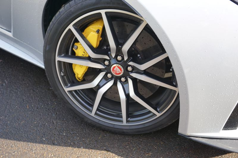 PORTLAND TRIBUNE: JEFF ZURSCHMEIDE - The yellow calipers of the Carbon Ceramic Matrix Braking System on the 2017 Jaguar F-Type SRV are clearly visible through the 20-inch alloy wheels.