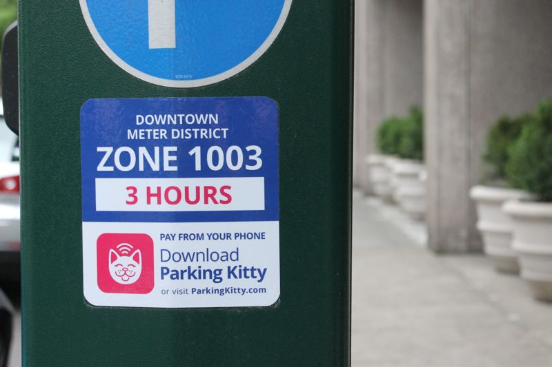TRIBUNE PHOTO: LYNDSEY HEWITT - Parking Kitty is available to download on smartphones and can be used for any metered area of the city.