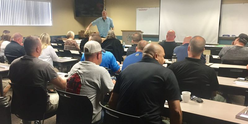 CCSO - De-escalation training session attended by Clackamas County Jail staff.