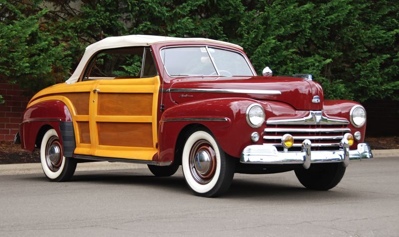COURTESY FOREST GROVE CONCOURS - Wood-bodied cars, once a common site at resorts, parks and surfing beaches, are hard to find these days. Ron Yeager, of Portland, is bringing his rare 1947 Ford Sportsman to the Forest Grove Concours d'Elegance on Sunday as part of a special 'Woodie' display.