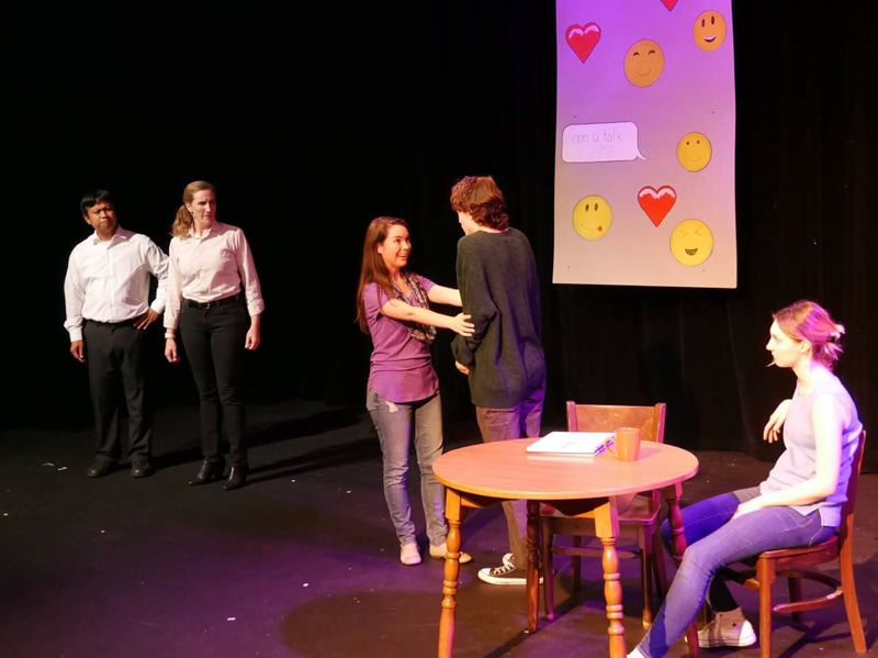 COURTESY PHOTO: CARL DAHLQUIST - Left to right, Les Ico, Ami Ericson, Rachel Thomas, Skye McLaren Walton and Kaitlynn Baugh  play in HART Theatres annual summer Page to Stage offering.