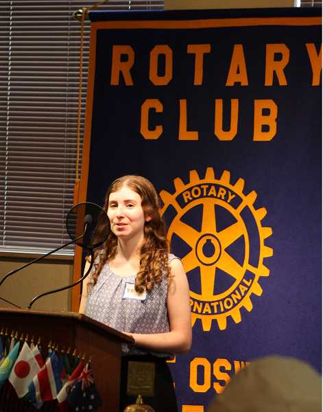 REVIEW PHOTO: JILLIAN DALEY - Lake Oswego High School graduate Sarah Kwartler was honored with a Merit Scholarship from Lake Oswego Rotary Club. Kwartler will be studying biology and natural products chemistry at Duke University.
