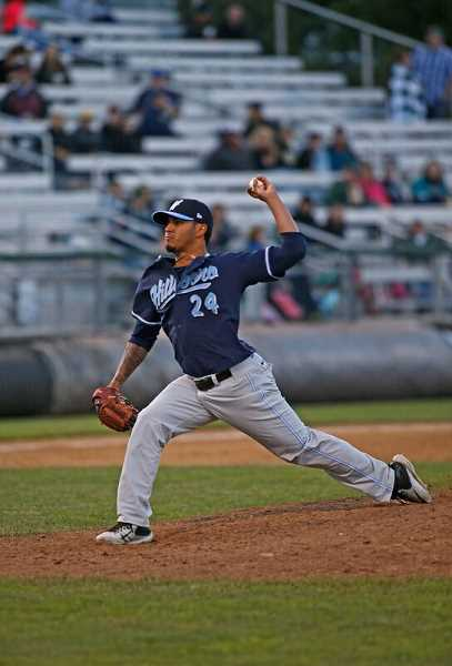 COURTESY PHOTO: MICHAEL JACOBS - Hops pitcher Anfernee Benitez throws a pitch during the Hops seven-game road trip at Salem and Spokane.