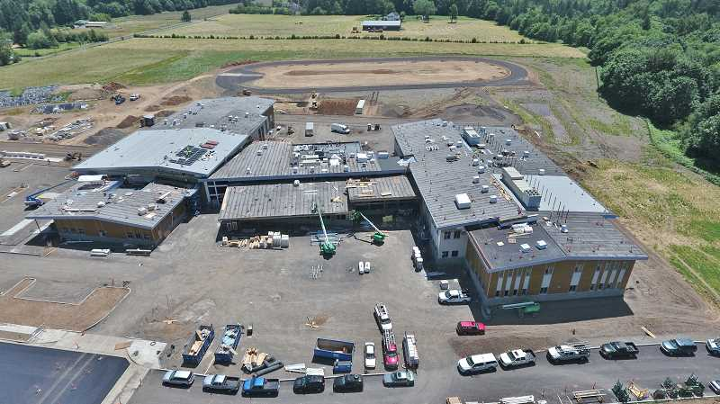 SUBMITTED PHOTO - An aerial shot of Meridian Creek Primary from June 21 shows the school is getting closer to completion.