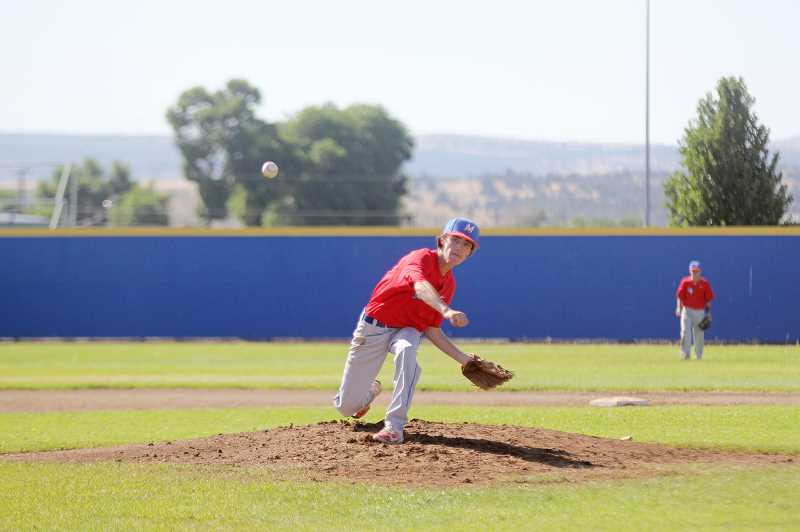WILL DENNER/MADRAS PIONEER - Madras pitcher Brandon Desjardins threw a complete, five-inning shutout Sunday in a 10-0 win against Bend. Backed by a strong defense while also commanding the strike zone, Desjardins allowed only one hit, and it didn't come until the fifth inning.