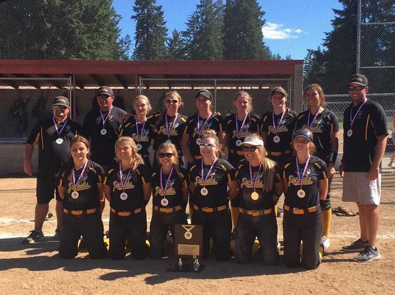 SUBMITTED PHOTO - The High Desert YellowJackets, which included girls from Madras, Culver, Prineville and Redmond, captured the ASA 16A state championships last weekend at Sherwood High. Pictured from top left: head coach Jeremy Puckett, assistant coach Frank Martinez, Natalie Hill McCoy, Kayla Berg, Ondriah Oyloe, Rylee Stearns, Audrey McKenzie, Kalyn Martinez and assistant coach Tim Berg. Pictured from bottom left: Lorena Vasquez, Caitlyn Elliott, Berkley Puckett, Lizzie Steuart, Ashley Owens and Jinya Glenn.