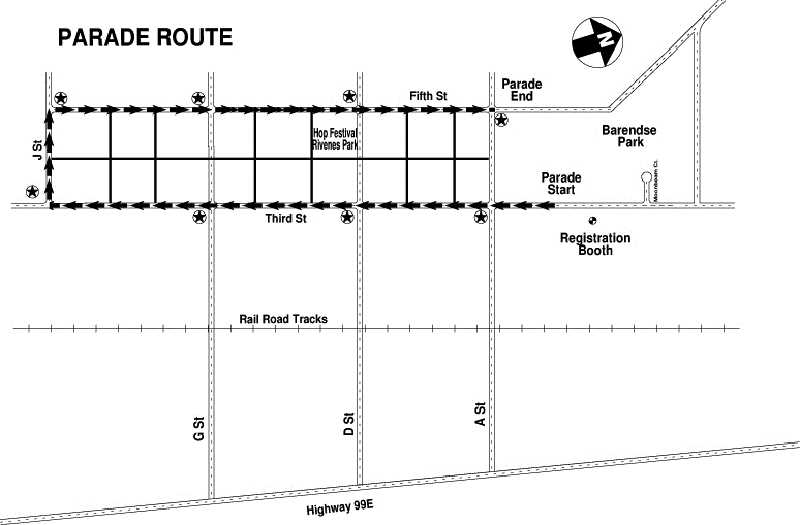 COURTESY PHOTO - Parade route map for Hop Fest.