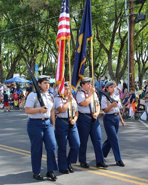 HOLLY M. GILL/MADRAS PIONEER - The MHS JROTC color guard led the Fourth of July Parade. From left to right, cadets include Maria Zavala, Kira Povis, Jasmine Lopez, and Wynona Tewee.