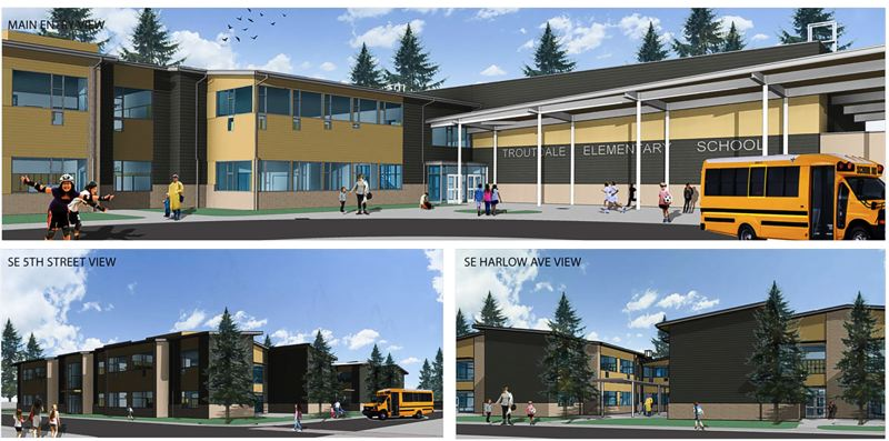 RENDERING COURTESY OF BLRB ARCHITECTS  - This is what the new Troutdale Elementary School will look like when it's ready for the school's 425 students.