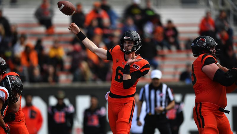 COURTESY: SCOBEL WIGGINS - Jake Luton attempts a pass during the Oregon State spring game.