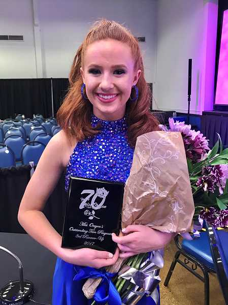 "COURTESY NICOLE BAKER - Madison Baker placed third runner-up at the Miss Oregon's Outstanding Teen Scholarship Program. Her platform is ""Behind the Smile: Teenage Depression and Anxiety."""