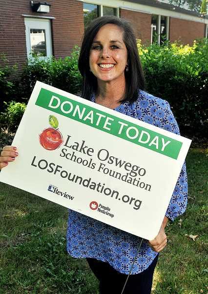 REVIEW PHOTO: VERN UYETAKE - Mary Kay Larson, executive director of the Lake Oswego Schools Foundation, says she plans to focus on new families, corporate donations and a visit from Michael Jones.