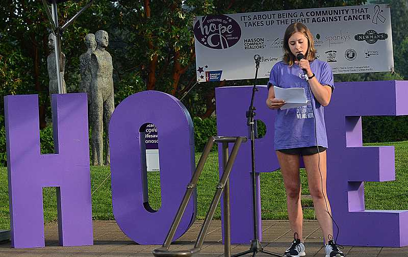 REVIEW PHOTO: VERN UYETAKE - West Linn High School senior Liz Lofurno talks about her battle with cancer as the featured speaker Friday at Lake Oswego's Evening of Hope. Organizers hope to raise $70,000 for the American Cancer Society.