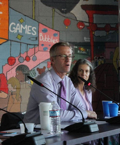 TRIBUNE PHOTO: LYNDSEY HEWITT - Mayor Ted Wheeler, along with commissioners Amanda Fritz, Dan Saltzman and Chloe Eudaly visited Southeast 82nd Avenue for a town hall on Tuesday.