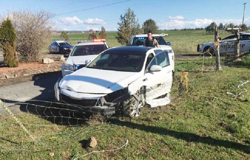SUBMITTED PHOTO - Marlatt's vehicle ended up in a fence near Colfax Lane.