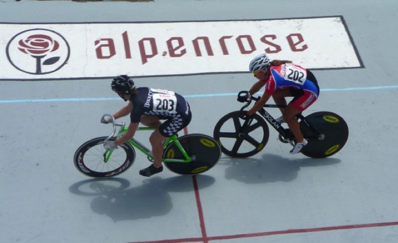 COURTESY: MICHAEL HERNANDEZ - Jen Featheringill (left) and Dana Feiss race at Alpenrose Velodrome, site of the 20th Alpenrose Velodrome Challenge Friday through Sunday.
