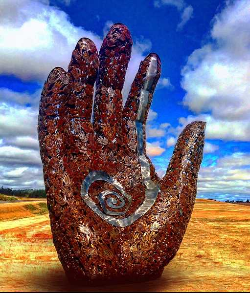 SUBMITTED PHOTO  - The Healing Hand created by Tom Jackson is one of the new pieces that will be in the Gallery Without Walls during the 2017-19 rotation.