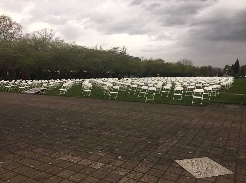 PAMPLIN MEDIA GROUP PHOTO: PARIS ACHEN - Suicide-prevention advocates set up 762 empty chairs at the Oregon Capitol in April, representing the 762 Oregonians who killed themselves in 2015.