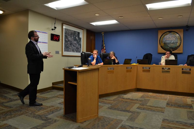 POST PHOTO: BRITTANY ALLEN - Ed Barlow, vice president of strategic planning for North Star Destination Strategies, spoke to the Sandy City Council before entering the research stage of the city's rebranding initiative on Monday, March 20.