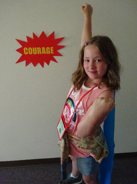 CONTRIBUTED PHOTO - Gresham United Methodist Church has wrapped up its vacation Bible school this year. This year's theme was 'Hero Central: Discover Your Strength in God.' This child shows off her her super hero cape.