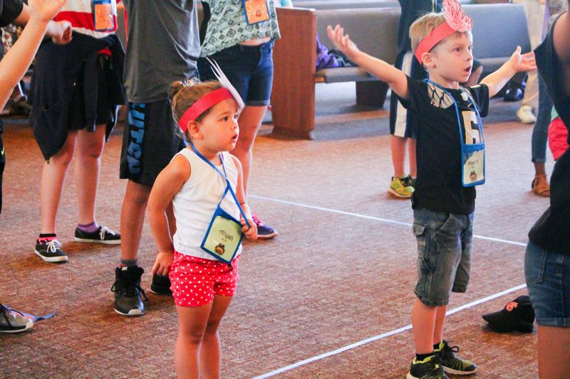 CONTRIBUTED PHOTO - Despite the fact that vacation Bible school is waning nationally, it's still lots of fun even for the the smallest kids, as these kids from Gresham United Methodist Church show.
