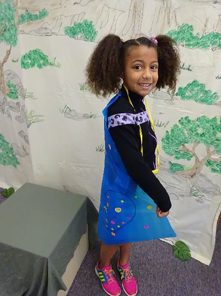 CONTRIBUTED PHOTO - Another United Methodist Church student shows off her super hero cape.