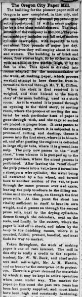Article on the Pioneer Paper Mill from the inaugural issue of the Oregon City Enterprise, Oct. 27, 1866.