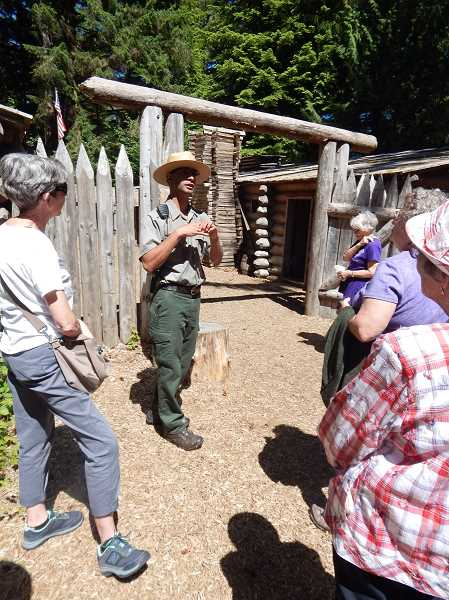 REGAL COURIER PHOTOS: BARBARA SHERMAN - A Lewis and Clark National Historical Park ranger talks to King City Travel Club members about how the Corps of Discovery members lived at Fort Clatsop.