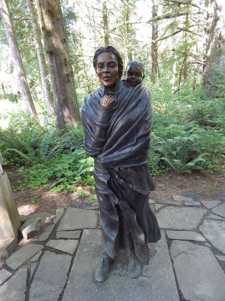 This beautiful statue of Sacagawea and her son Jean Baptiste is on the grounds of the Fort Clatsop replica at the Lewis and Clark National Historial Park.