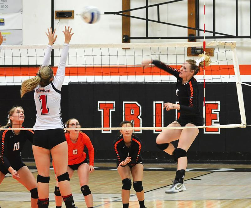 SPOTLIGHT PHOTO: JAKE MCNEAL - Indians senior outside hitter Hannah Galey, right, launches a shot in 2016.