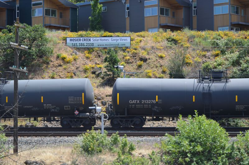 COURTESY PHOTO - A train loaded with oil travels tracks in the Columbia Gorge.