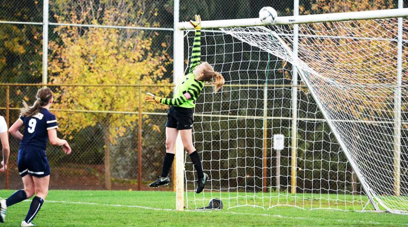 SPOTLIGHT PHOTO: JAKE MCNEAL - Indians senior keeper Alyssa Bakkensen deflects a shot off the top of her goal last fall.