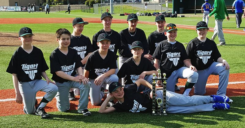 SUBMITTED PHOTO - The Tigard Senior National team won its share of trophies during the 2017 season, in addition to nearly making the state tournament.