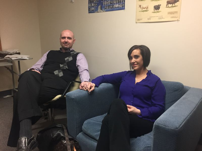 PARIS ACHEN/CAPITAL BUREAU - Brent Goodfellow and Beth Hacker, who recently moved in together in McMinnville, sit in an office at the Oregon State Capitol in Salem before Hacker gave testimony on a bill to expand a family sentencing alternative program April 12, 2017.