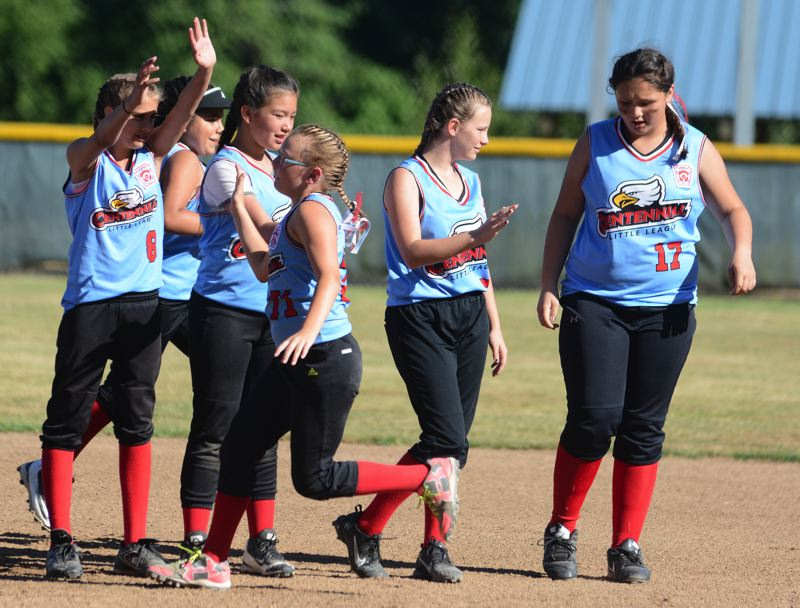 OUTLOOK PHOTO: DAVID BALL - Centennials softball team started the ages 8-10 state tournament with a 17-6 win over South Salem last Thursday in Medford.