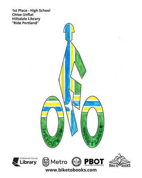 COURTESY PHOTO - Hillsdale Library member Chloe Unflat's design will become a bike lane stick figure in the City of Portland.