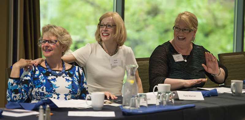 SUBMITTED PHOTO  - Circle of Giving members Cathy Rudd (Left), Patti Warner and Linette Dobbins working to help womens health researchers.
