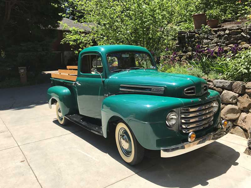 COURTESY PHOTO - Jason Lensch will lead the Multnomah Days parade from this emerald-green 1949 Ford truck.