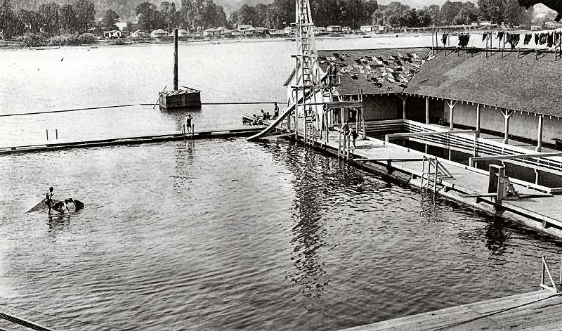 COURTESY OF SMILE HISTORY COMMITTEE - During slow times at the Oaks Park Bath House bathing suits were either hung on lines over the roof line, or thrown haphazardly on the rooftop, to dry - before renting them out to others. Wash them first? Why? They were already wet