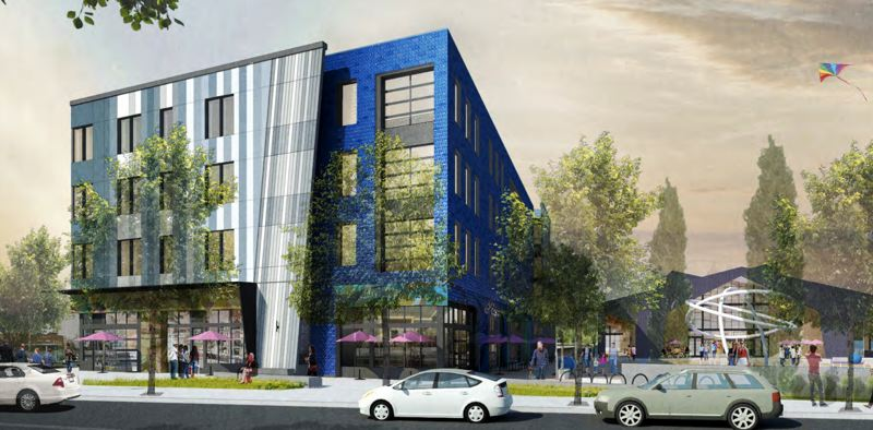 COURTESY ROCKWOOD RISING - A rendering for Building A, the proposed Workforce Training Center, could house makerspaces, employement agencies and job-training facilities when completed.