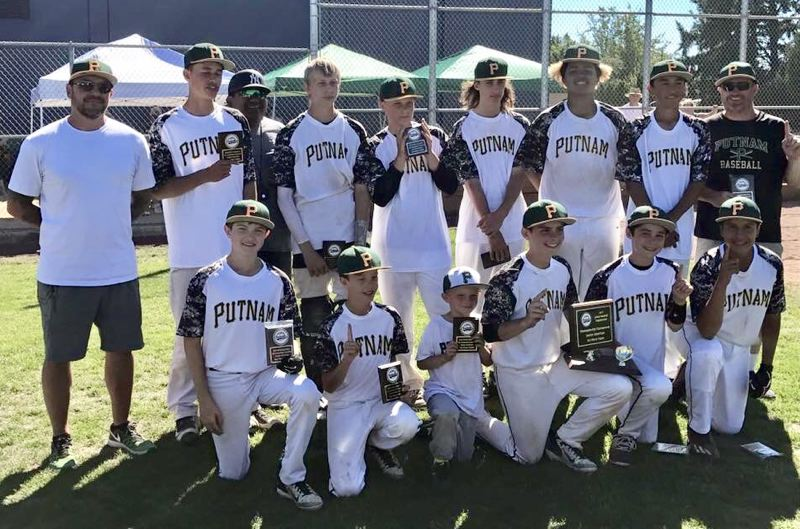 PHOTO COURTESY MICK CARRILLO - Putnam defeated Gladstone 15-3 to clinch the Junior Baseball Organization's Senior American championship at the July 20-23 state tournament at Poyneter Middle School in Hillsboro.