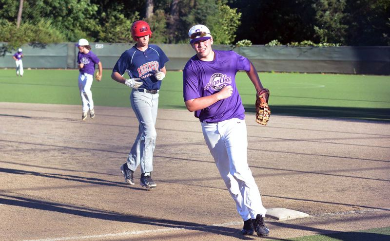 TIMES PHOTO: MATT SINGLEDECKER - Sunset first baseman Chris Armstrong runs off the field after turning an unassisted double play against Westview.